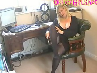 BBW Secretary Slut In Black Pantyhose With