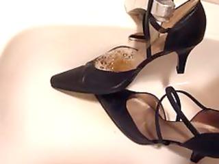Peeing in wifes strap high heels