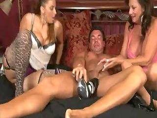2 Aged Hotties Give a Nylons Footjob