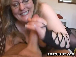Busty amateur wife handjob and blowjob with cum