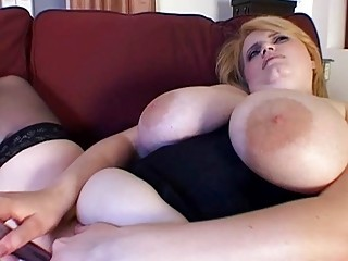 Classy MILF fatty toys her hungry muff in black