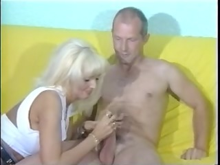 Sandra gives mature guy awesome CFNM handjob with