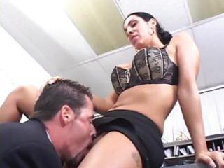 Brunette milf office sex