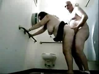 Dude Fucks A Granny In Public Toilets