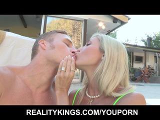 Big-tit blonde MILF shares her poolboys hard dick