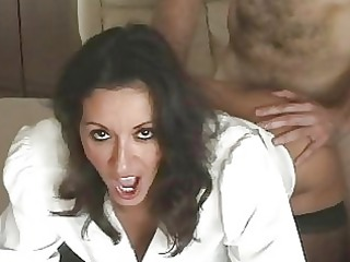 Seductive busty milf in stockings gets slammed