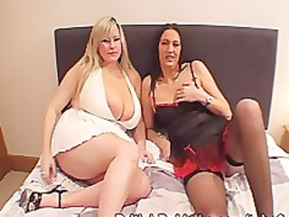 Massive boobed woman and mature take facials