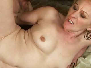 Granny enjoys nasty sex with a boy