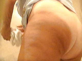 voyeur granny mature hairy pussy white panty