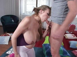 Lusty blonde MILF babe gives breathtaking blowjob