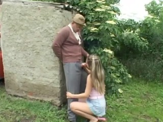 Nasty Old Man Having Outdoor Sex With Horny Teen