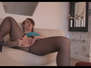 Busty mature milf in pantyhose strips and talks