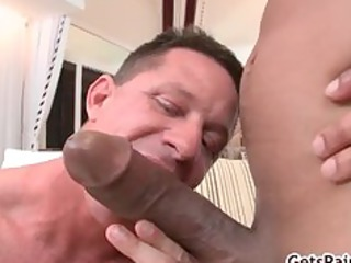 Mature muscle guy sucking black cock part6